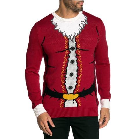 Ugly Christmas Sweater Mens Santa Claus Crew Neck Knit Sweater Medium