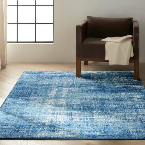 Calvin Klein River Flow Contemporary Abstract Blue Area Rug