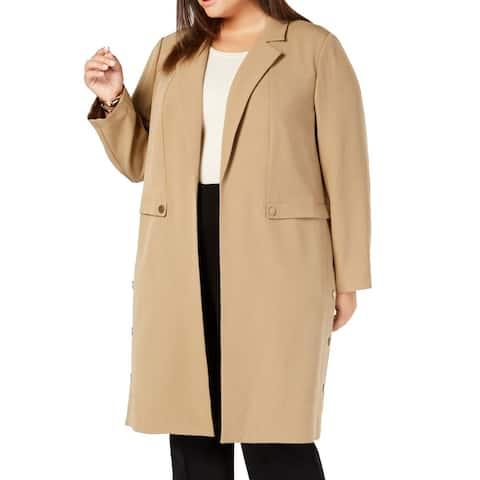 Kasper Womens Coat Tan Beige Size 2X Plus Trench Notched Collar
