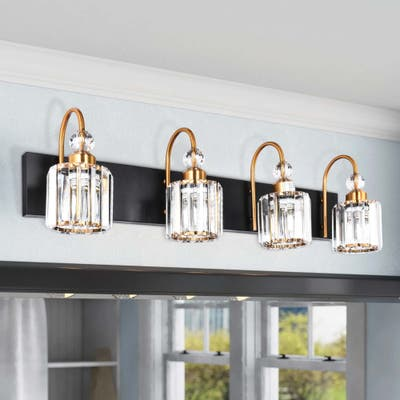 4-light Wall Sconce Vanity Lighting with Crystal Shades