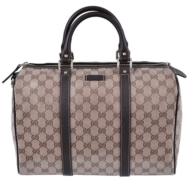 Shop Gucci Brown Crystal GG Canvas   Leather Boston Bag - Free ... ac5303c6151dd