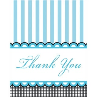 """Club Pack of 96 Sweet Baby Feet- Blue Paper """"Thank You"""" Notes"""