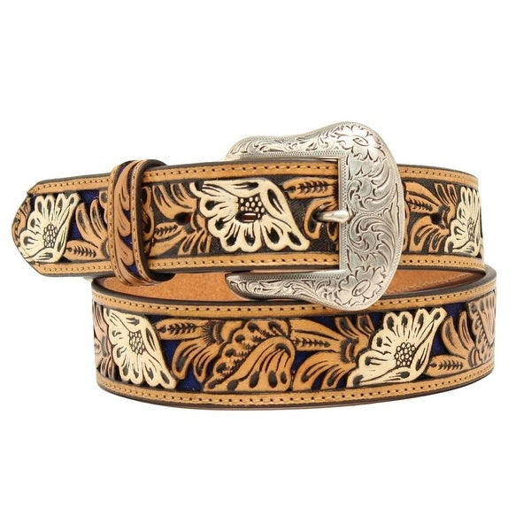 Nocona Western Belt Mens Leather Embossed Floral Blue Tan