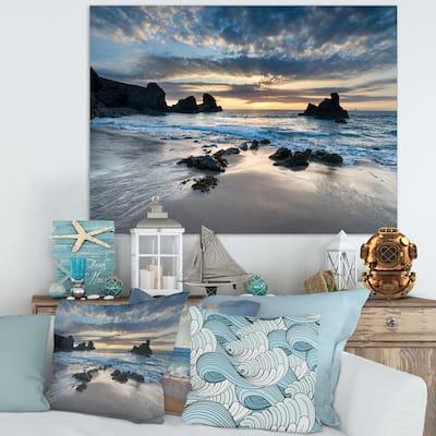 Designart 'Beautiful Porthcothan Bay' Modern Seashore Canvas Wall Art Print