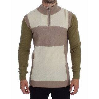 Galliano Beige Green Wool Blend Zipper Cardigan Sweater