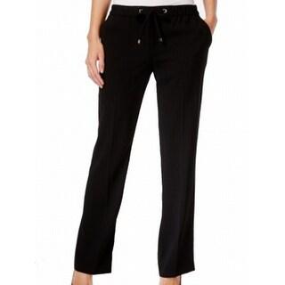 Calvin Klein NEW Black Women's Size 4X32 Drawstring Straight Leg Pants