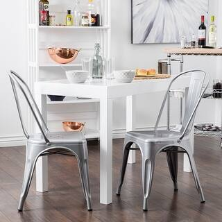 belleze set of 4 vintage style dining chairs steel high back side silver - Silver Dining Table