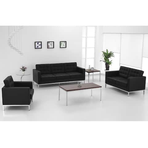 Button Tufted LeatherSoft Chair with Integrated Stainless Steel Frame