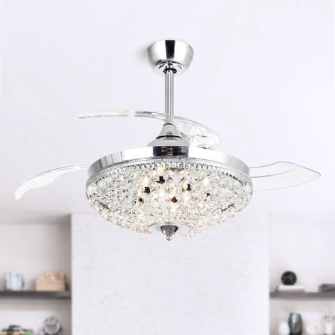 Modern Chrome Crystal 6-light Ceiling Fan Chandelier