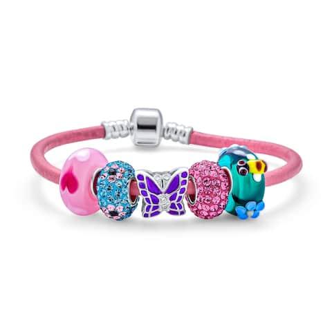 Buterfly Gargen Multi Charms Bracelet Pink Leather .925 Sterling Silver
