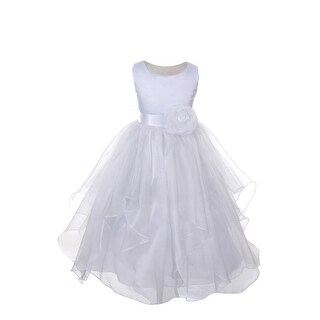 Little Girls White Satin Organza Ruffle Layer Flower Girl Communion Dress 4-6 (2 options available)