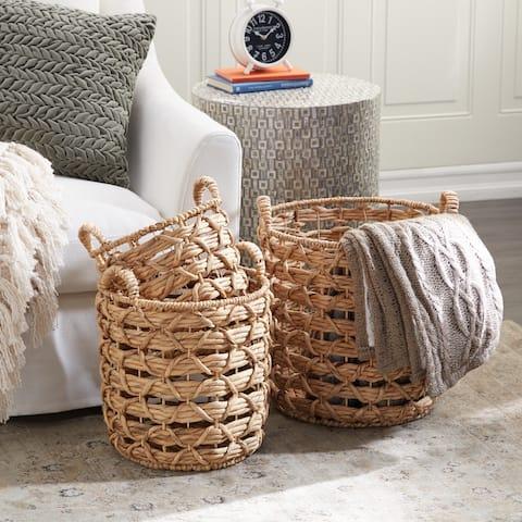 Set of 3 Brown Sea Grass Natural Storage Basket 14, 16, 18 In - 17 x 17 x 18