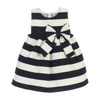 Sweet Kids Baby Girls Black White Stripe Ribbon Accent Occasion Dress 6-24M
