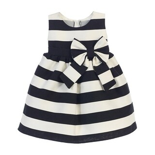 Sweet Kids Baby Girls Black White Stripe Ribbon Accent Occasion Dress 6-24M (2 options available)