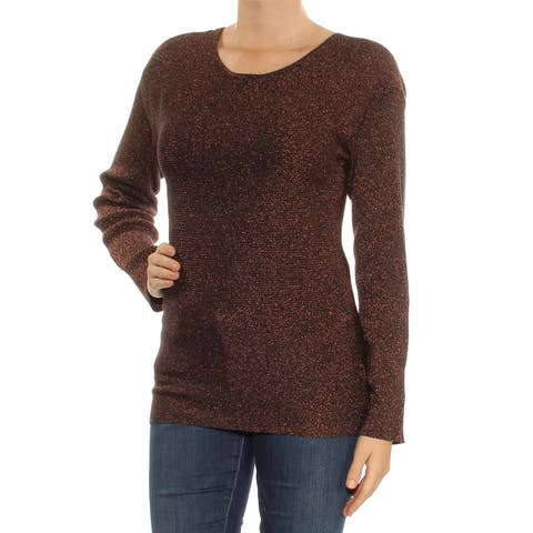 BAR III Womens Brown Glitter Cut Out Long Sleeve Scoop Neck Sweater Size: XS