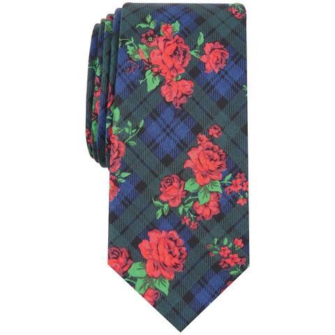 Bar III Men's Navy Blue Floral Rose Tartan Plaid Skinny Neck Tie