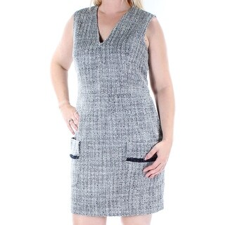 ANNE KLEIN Womens Gray Textured Pocketed Sleeveless V Neck Above The Knee Wear To Work Dress Size: 12
