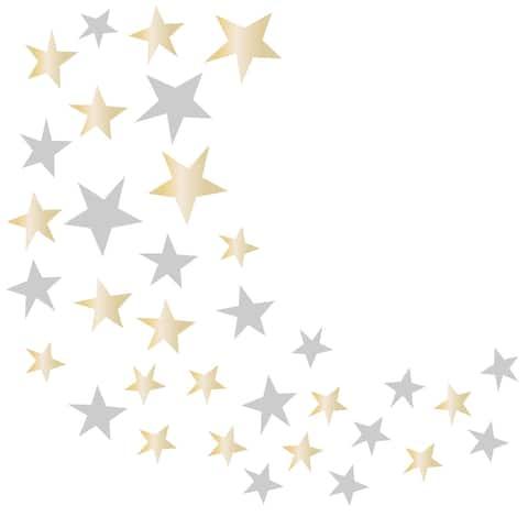 Lambs & Ivy Signature Jamboree Metallic Gold/Silver Celestial Stars Nursery Wall Decals