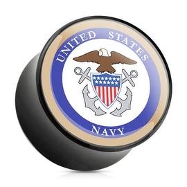 U.S. Navy Logo Print Inlayed Black Acrylic Plug (Sold Individually)
