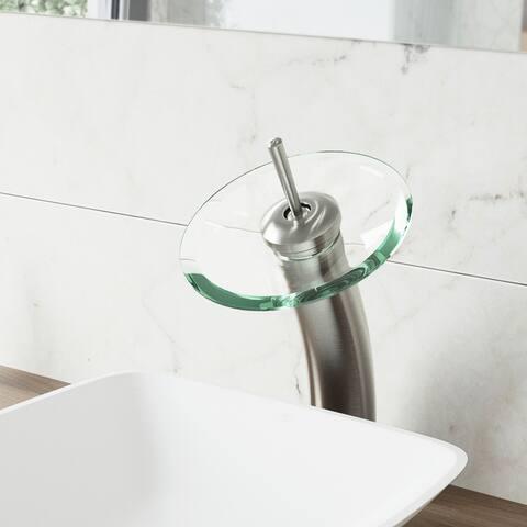 VIGO Brushed Nickel Waterfall Vessel Bathroom Faucet