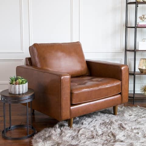 Abbyson Holloway Mid-century Modern Top-grain Leather Armchair