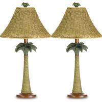 2 Modern Polyresin and Rattan Base with Woven Shade Palm Table Lamps
