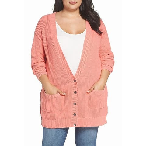 Caslon Womens Sweater Pink Size 2X Plus Cardigan Kit Patch Pocket