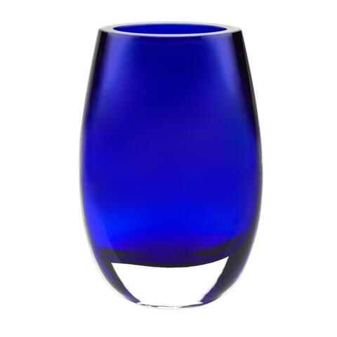 """8"""" Mouth Blown Crystal Cobalt Blue Vase"""