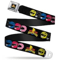 Power Rangers Logo Full Color Power Rangers Faces Turned W Mighty Morphin Seatbelt Belt