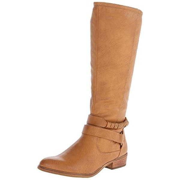 Baretraps Womens Tatiana Riding Boots Faux Leather Mid-Calf