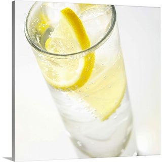 """Glass of lemonade, close up"" Canvas Wall Art"