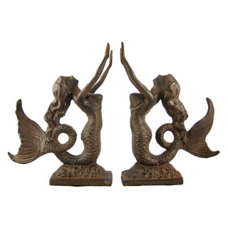 Cast Iron Mermaid Bookends Antiqued Finish - brown