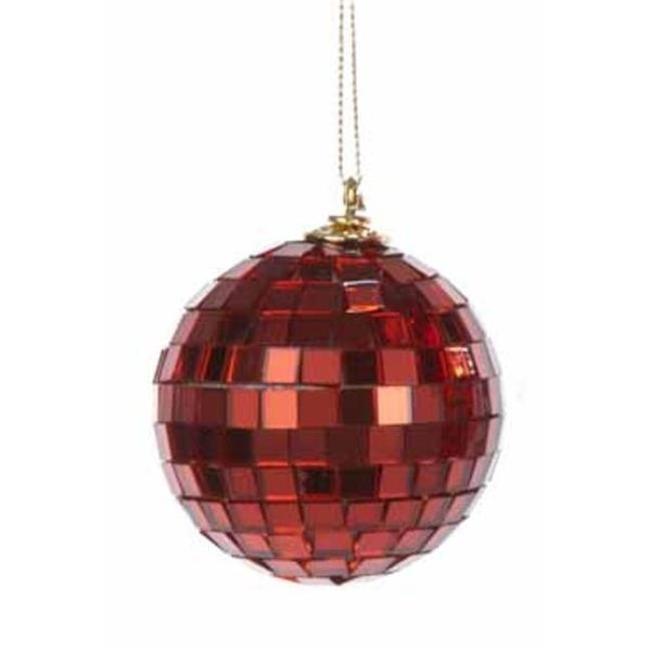 kurt adler 25 in red mirrored glass disco ball christmas ornament