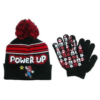 Nintendo Boy's Mario Brothers Hat and Glove Winter Set
