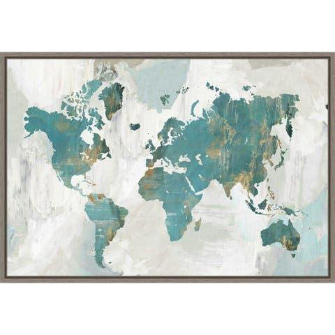 Teal World Map by Pamela Collabera Framed Canvas Art