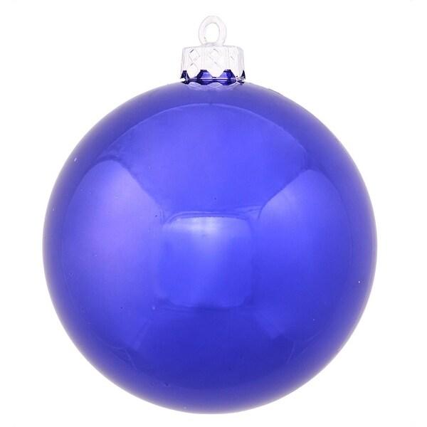 "Shiny Cobalt UV Resistant Commercial Drilled Shatterproof Christmas Ball Ornament 8"" (200mm) - BLue"