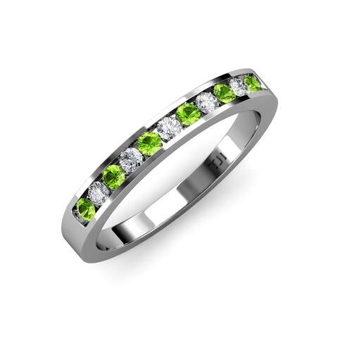 TriJewels Peridot Diamond Womens Wedding Band Stackable 14K White Gold - Green