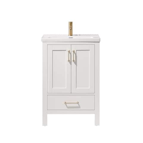 Gela 24-inch White Vanity White Ceramic Basin Top Without Mirror