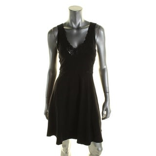 French Connection Womens Casual Dress Lace Trim Mesh Inset - 10