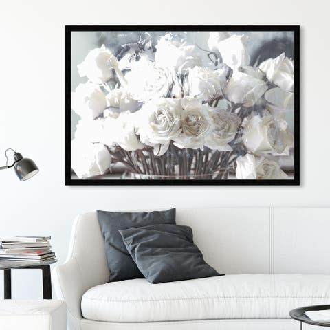 Oliver Gal 'Rose Gold Feast Grey' Floral and Botanical Framed Wall Art Prints Florals - White, Brown