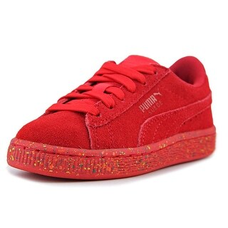 Puma Suede Classic Multi Splatter Kid PS Youth Suede Red Fashion Sneakers (Option: 12)