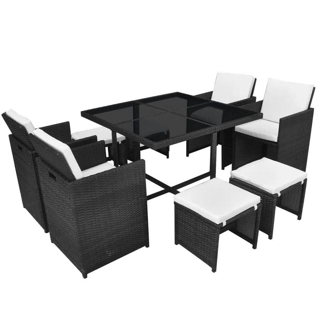 Vidaxl Outdoor Dining Set 21 Piece Wicker Black Garden Furniture Overstock 26236586