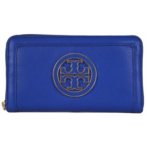 "Tory Burch Blue Leather Amanda Logo Zip Continental Clutch Wallet - 7.5"" x 4.25"""