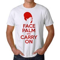 Face Palm and Carry On Men's White T-Shirt Red Head White Hand