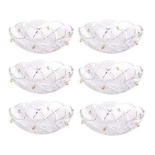 6 Vintage Bobeche Clear Crystal 6 Prism Hole Scallop 4 D Renovator's Supply