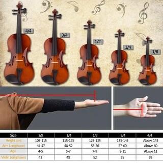 New 1/4 Acoustic Violin Case Bow Rosin Natural