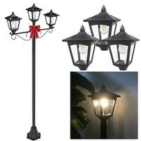 "Kanstar 72"" Triple Head Street Vintage Outdoor Garden Post Solar Lamp Post Light Lawn - Adjustable"