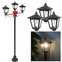 """Kanstar 72"""" Triple Head Street Vintage Outdoor Garden Post Solar Lamp Post Light Lawn - Adjustable"""