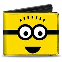 Spikey Hair Minion Yellow Black White Bi Fold Wallet - One Size Fits most
