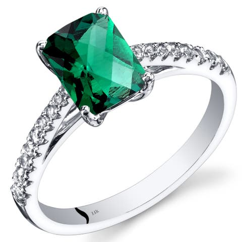 14 Karat White Gold Created Emerald Ring Radiant Cut 1.25 Carats